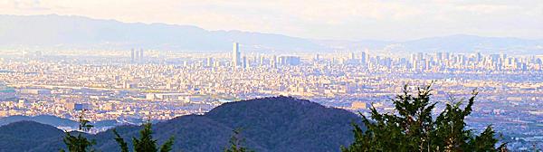 二上山雌岳の下の広場から大阪市内の眺め