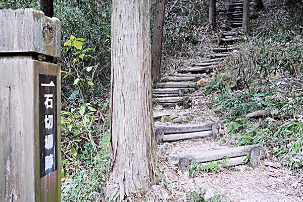 20190210二上山 (1)石切場跡への分岐