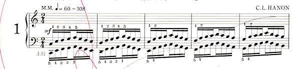 ハノン1番の楽譜、1-5小節