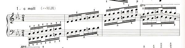 ハノン39番ハ短調スケールの楽譜、1-4小節