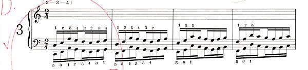 ハノン3番の楽譜、1-4小節