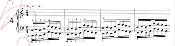 ハノン4番の楽譜、1-4小節