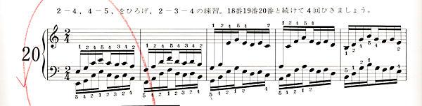 ハノン20番の楽譜、1-5小節