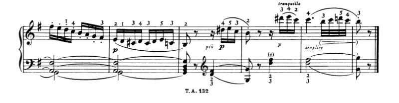 ベートーベン:ピアノ・ソナタ第10番Op.14-2 第1楽章 ト長調 の楽譜、最後から1-6小節