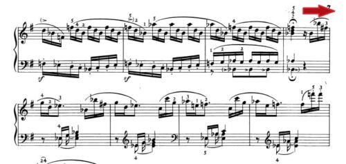 ベートーベン ピアノ・ソナタ第10番Op.14-2 第1楽章 ト長調の楽譜、95-102小節