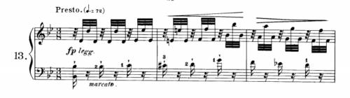 ツェルニー40番-13番の楽譜、1-3小節