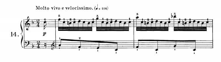 ツェルニー40番-14番の楽譜、1-2小節目