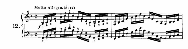 ツェルニー40番-12番の楽譜、1-2小節