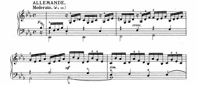 バッハ:フランス組曲第4番 アルマンド の楽譜、1-4小節