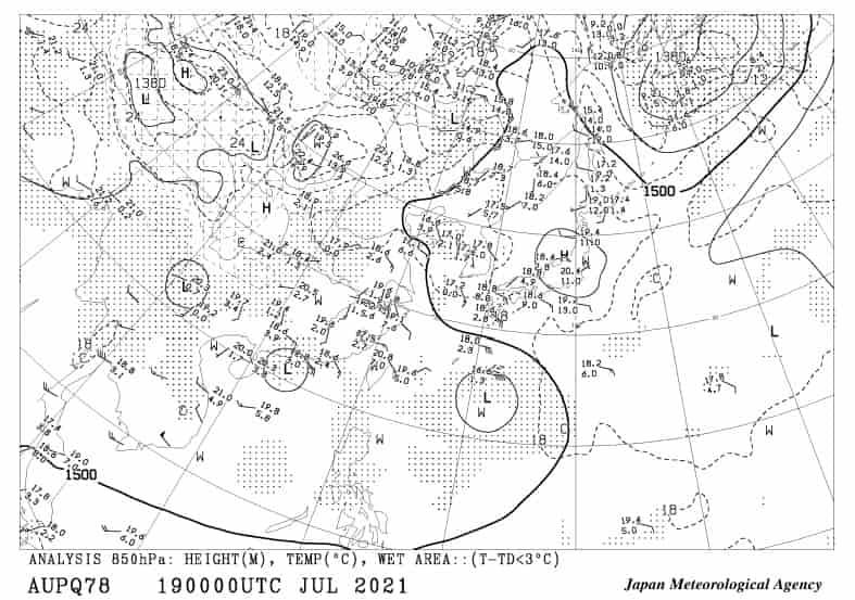 850hPa面の高層天気図