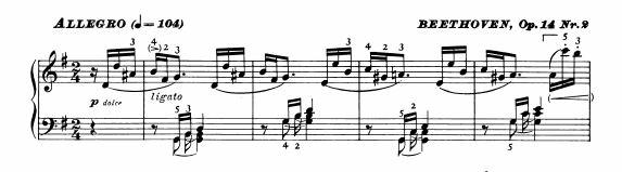 ベートーベン ピアノ・ソナタ第10番Op.14-2 第1楽章 ト長調 の楽譜、1-4小節