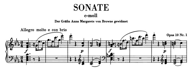 ベートーベン:ピアノ・ソナタ第5番Op.10-1 第1楽章 ハ短調 の楽譜、1-8小節