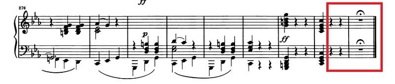 ベートーベン:ピアノ・ソナタ第5番Op.10-1 第1楽章 ハ短調 の楽譜、276-284小節