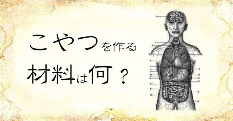 「こやつを作る材料は何」という文字と、「人体内蔵」のイラスト