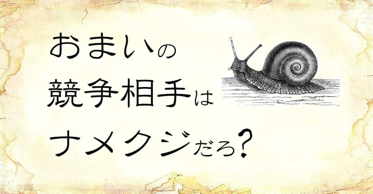 「おまいの競争相手はナメクジだろ」という文字と、「カタツムリ」のイラスト