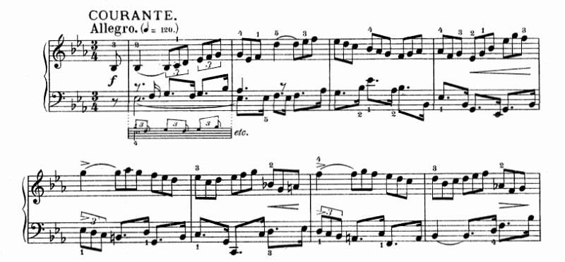 バッハ:フランス組曲第4番 クーラント の楽譜、1-8小節