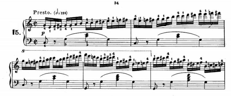 ツェルニー40番-15番の楽譜、1-5小節目