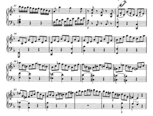 モーツァルト :ピアノ・ソナタ第2番K.280 第1楽章 ヘ長調の楽譜、10-26小節