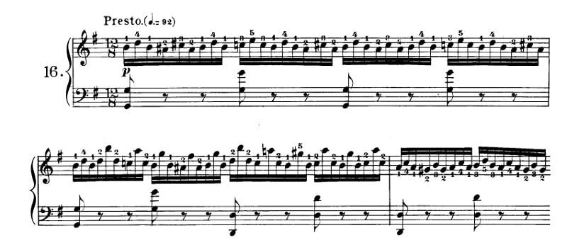 ツェルニー40番-16番の楽譜、1-3小節目
