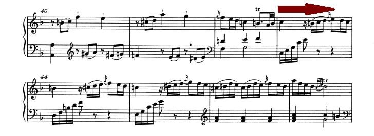 モーツァルト:ピアノ・ソナタ第2番K.280 第1楽章、40-47小節