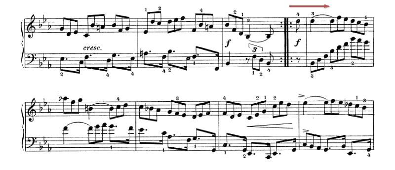バッハ:フランス組曲第4番 クーラント の楽譜、14-21小節