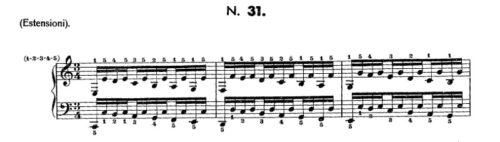 ハノン31番の楽譜、1-3小節