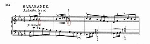 バッハ:フランス組曲第4番 サラバンドの楽譜、1-4小節|和音の下の音