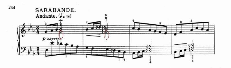 バッハ:フランス組曲第4番 サラバンドの楽譜、1-4小節 和音の下の音
