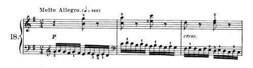 ツェルニー40番-18番の楽譜、1-3小節目