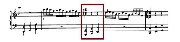 モーツァルト:ピアノ・ソナタ第2番K.280 第1楽章、67-71小節