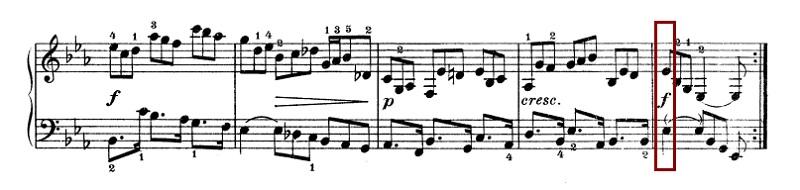 バッハ:フランス組曲第4番 クーラント の楽譜、32-36(最終)小節