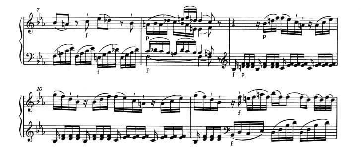 モーツァルト:ピアノ・ソナタ第4番K.282 第1楽章 変ホ長調の楽譜、7-11小節
