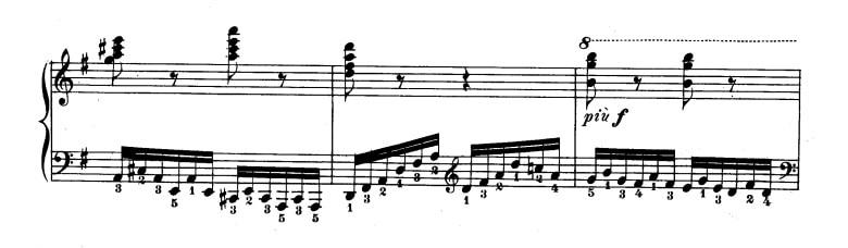 ツェルニー40番-18番の楽譜、23-25小節目