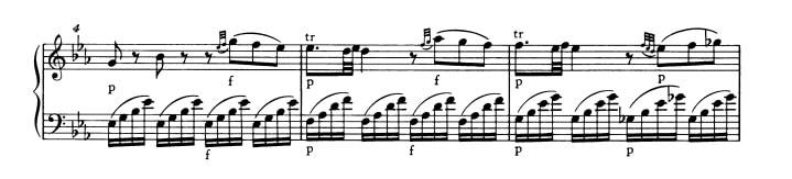 モーツァルト:ピアノ・ソナタ第4番K.282 第1楽章 変ホ長調の楽譜、4-6小節