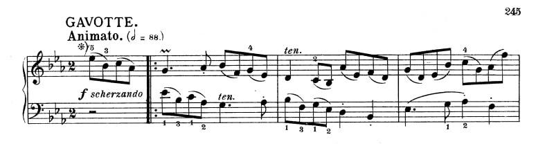 バッハ:フランス組曲第4番 ガボットの楽譜、1-3小節