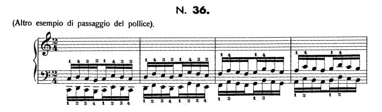 ハノン36番の楽譜、1-4小節